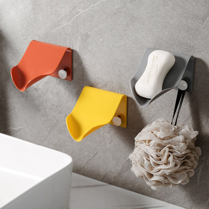 Simple Soap Box Drain Soap Holder Storage Box Bathroom Accessories Organizer Tray Sticker Hook Non-Punch Plastic Drainage Shelf