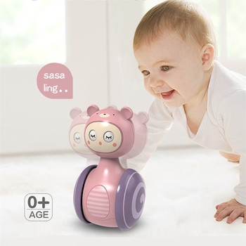 0-3Years Infant Tumbler Sliding Bell Rattle Baby Toys Cartoon Roly-poly Learning Education Toys for Kids Tumbler Mobile Bell Toy 1