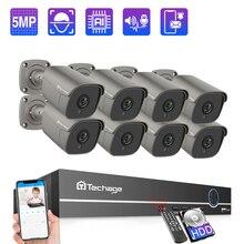 Techage 8CH 5MP POE NVR System kamer bezpieczeństwa dwukierunkowy zapis Audio kamera IP kryty odkryty wideo CCTV zestaw do nadzorowania