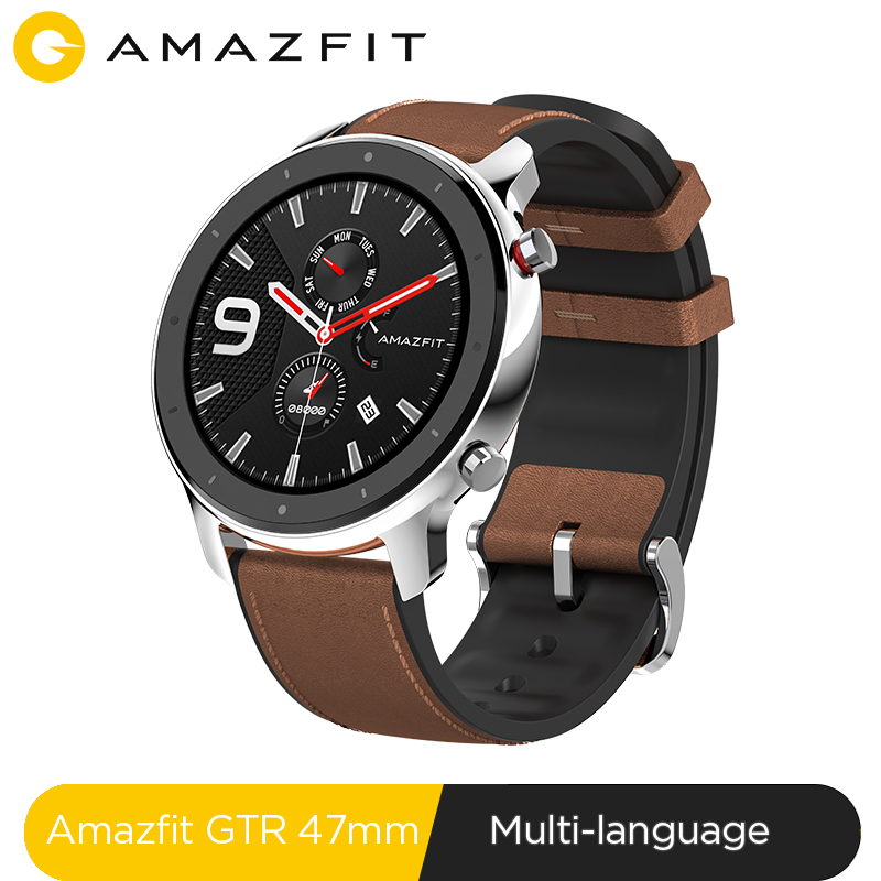 Global Version Amazfit GTR 47mm Smart Watch 5ATM Waterproof Smartwatch 24Days Battery GPS Music Control Leather Silicon Strap xanes a6s
