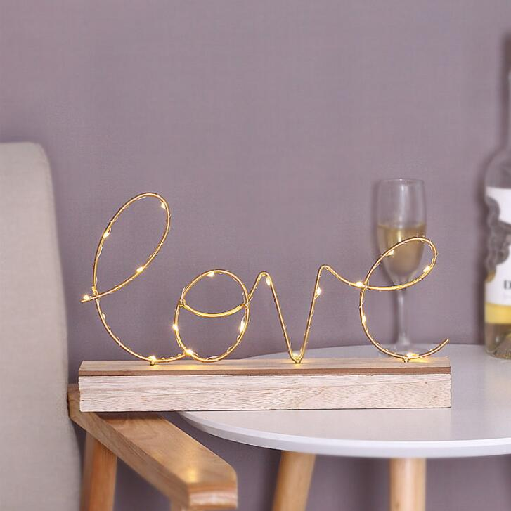 Creative ménage ornements décoration chambre chevet lettres nuit lumière cadeau d'anniversaire