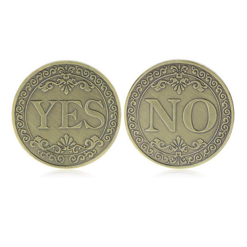 YES Or NO Commemorative Coin Floral YES NO Letter Coin Classic Magic Tricks TOYS On Both Sides Make A Decision(China)
