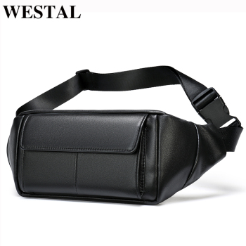 WESTAL Belt Bag Leather Waist Bag For Phone Belt Pack Men Pouch Bags Male Fanny Pack Genuine Leather Bag For Men Waist Bag Belt