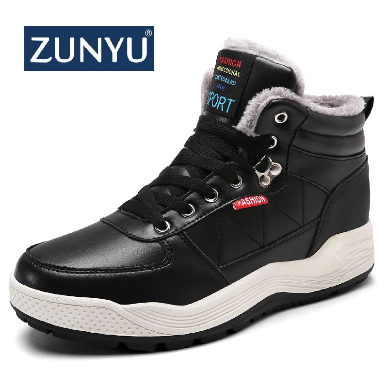 ZUNYU Winter Men Snow Boots Waterproof Man Boots Man Fur Thick Plush Warm Snow Shoes For Male Ankle Boots Booties Size 38-48
