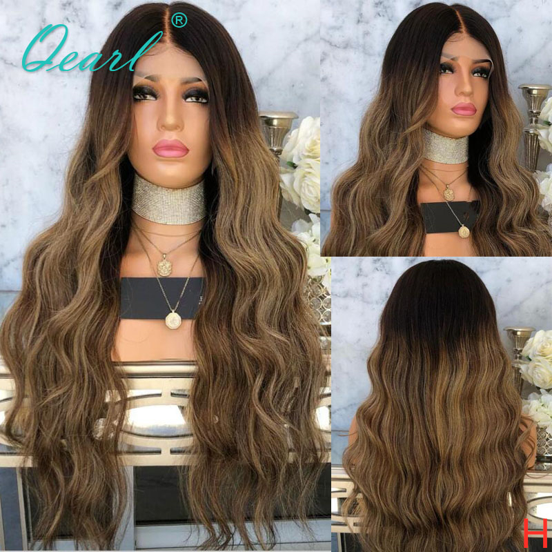 Ombre Highlight Color 13x4/13X6 Lace Front Human Hair Wigs With Baby Hair Malaysian Body Wave Remy Hair Wig 130% 150% Qearl