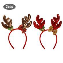 Рождественская повязка на голову Милая рога в форме красная повязка на голову Рождественское украшение веселые рождественские вечерние украшения на платье шикарная повязка для волос детский подарок