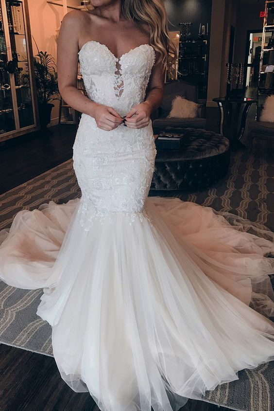 Sexy Sweetheart Lace Mermaid Wedding Dresses 2019 Appliques Tulle Court Train Bride Dress Bridal Wedding Gowns Robe De Mariee