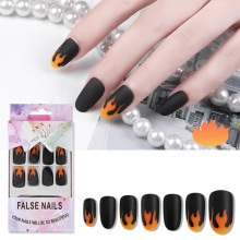 24pcs Removable Artificial Fake Nails Nail Art Stickers Flame Decoration Decals Adhesive Manicure Tips
