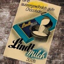 Anuncios de Chocolate de comida Suiza Lindt Milch pinturas clásicas de lona carteles de pared vintage pegatinas decoración del hogar regalo