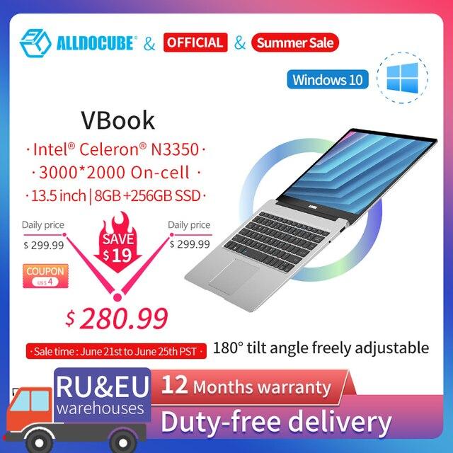 ALLDOCUBE VBook 13.5 inch Notebook Intel Apollo Lake Processor 8GB RAM 256GB SSD Windows10 Laptop 3000*2000 IPS 1