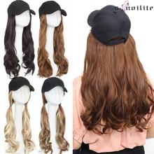 SNOILITE 16 дюймов Волнистые волосы для наращивания с черной шапкой Длинные Синтетические волосы для наращивания интегрированная шапочка с волосами для девочек для вечеринки