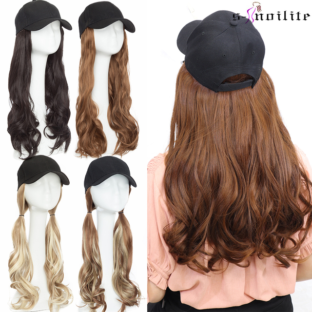 SNOILITE 16inch Wavy Hair Extensions with Black Cap Long Synthetic extension hair integrate cap with hair for girl party