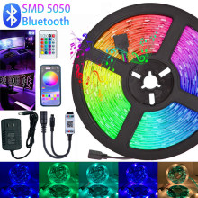 Tiras de led luzes rgb 5050 dc 12v ip20 luces tira led fita flexível diodo bluetooth wifi ir remoto controlador adaptador