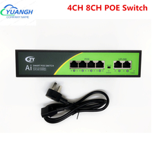 4CH 8CH 48V POE Switch 100Mbps Ethernet Network Switch 4 Ports PoE Switcher Standard RJ45 Injector For IP Camera