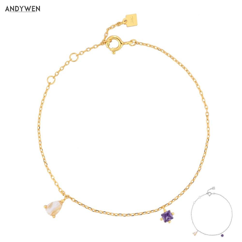 ANDYWEN 2020 New 925 Sterling Silver Ovals Pendant ZIrcon Purple Charms Chains Bracelet 2020 Rock Punk Luxury Jewelry Gold