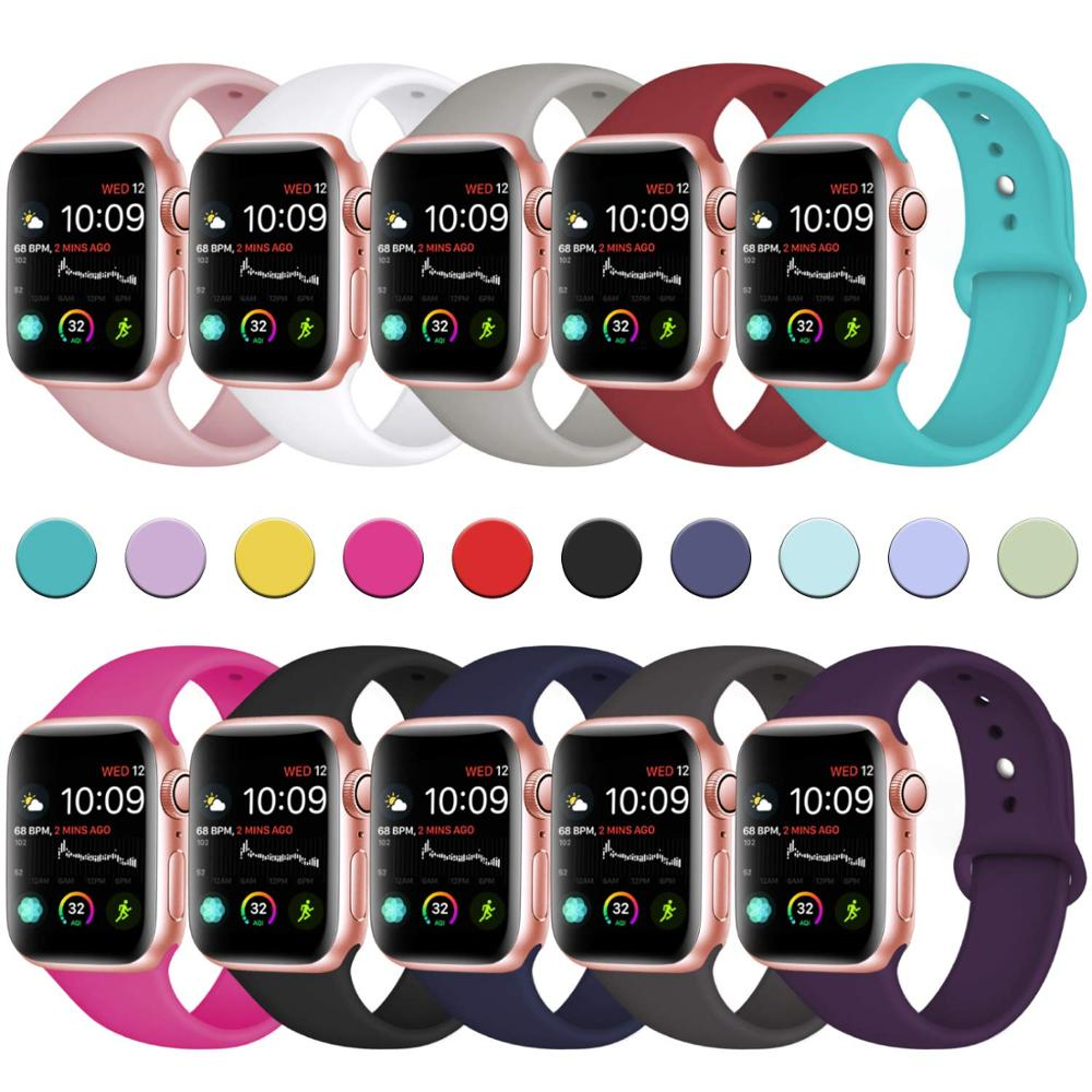 Band For Apple Watch 4 3 2 1 Soft Silicone Sports 38MM 42MM Bands Rubber Strap For Iwatch Series 4 40mm 44mm