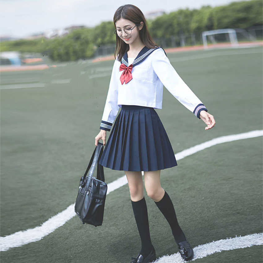 Navy Sailor Anime Rokken Japanse School Uniform Mode Koreaanse Stijl Kawaii Meisje Witte Cosplay Afstuderen Japan Shirt Kleding