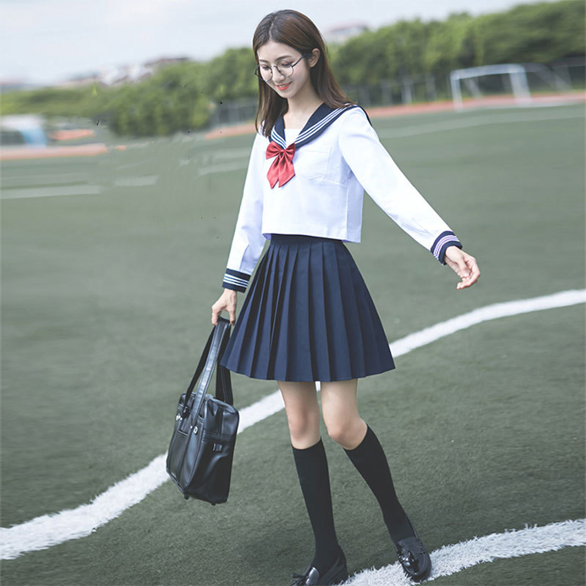 Navy Sailor Anime Skirts Japanese School Uniform Fashion Korean Style Kawaii Girl White Cosplay Graduation Japan Shirt Clothing image