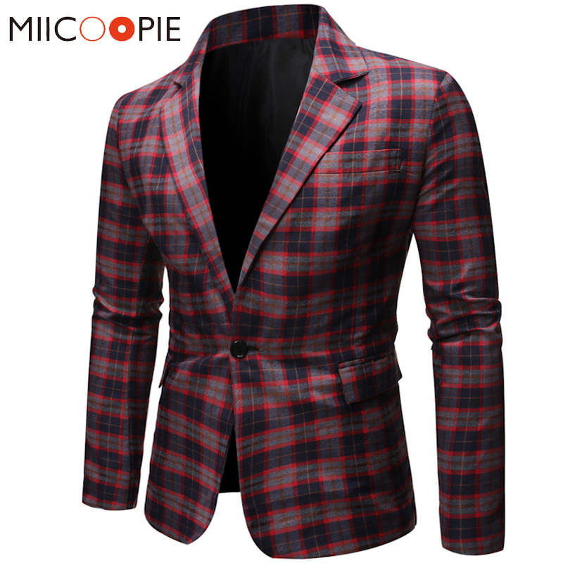 Plaid Printed Red Blazer Men Casual One Button Wedding Dress Masculino Slim Fit Formal Veste Costume Business Mens Blazer Jacket