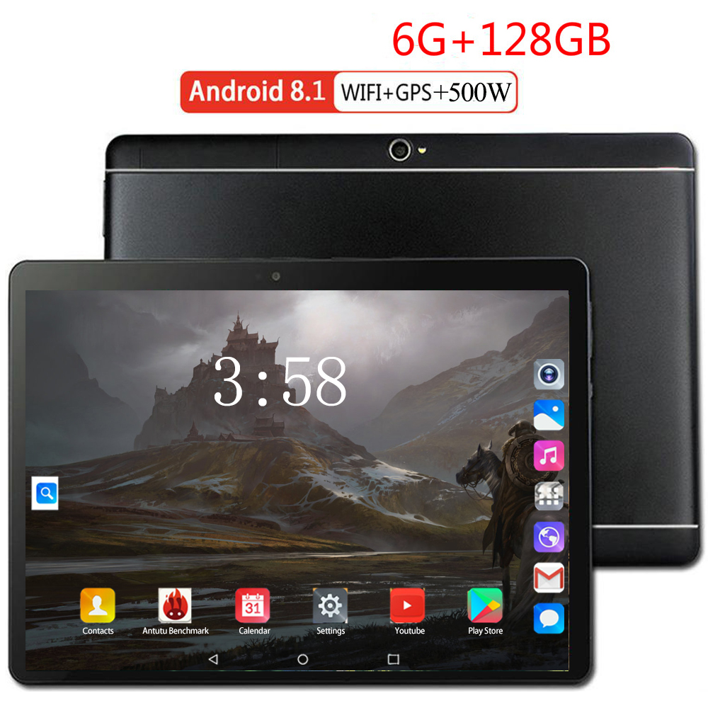 6+128GB 10.1 Inch Tablet PC 3G 4G LTE Android 8.0 Octa Core Super Tablets Ram 6GB Rom128GB WiFi GPS 10.1 Tablet IPS Dual SIM GPS