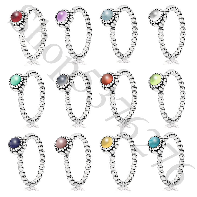 Authentic 925 Sterling Silver Twelve Months Birthday Blooms Stone Europe Ring For Original Women Bead Charm Gift DIY Jewelry(China)