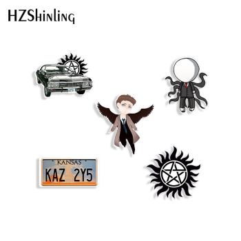 Supernatural TV Cartoon Pattern Acrylic Brooches Shrinky Dinks Brooches Badge Pins Resin Epoxy Bags Gifts
