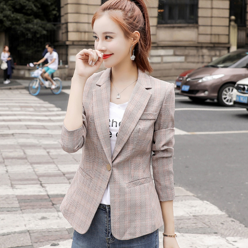 Small Plaid Suit Tops 2019 Spring Autumn New Style Korean-style Slim Fit Casual Retro Chic Women Blazer Jacket