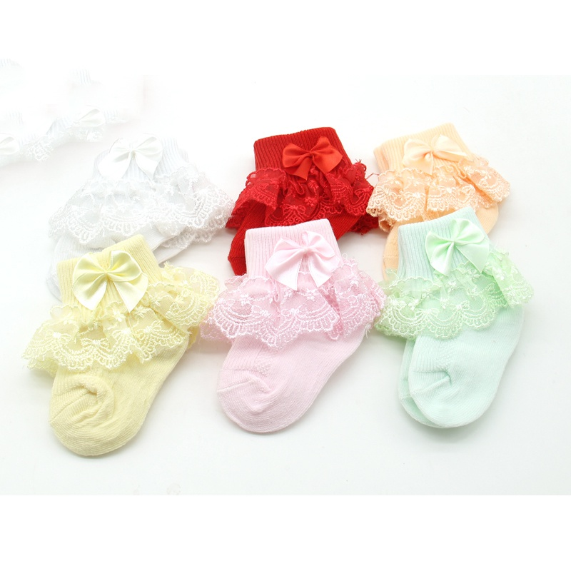 Newborn Baby Girls Socks Cotton Lace Baby Socks For Girls Infant Solid Princess Style Baby Girls Clothes Accessories