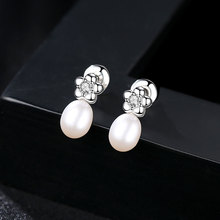 YUEYIN S925 Silver Stud Earrings Flower 100% Real Pearl Jewelry for Women Girls CC Party Gift New Arrival