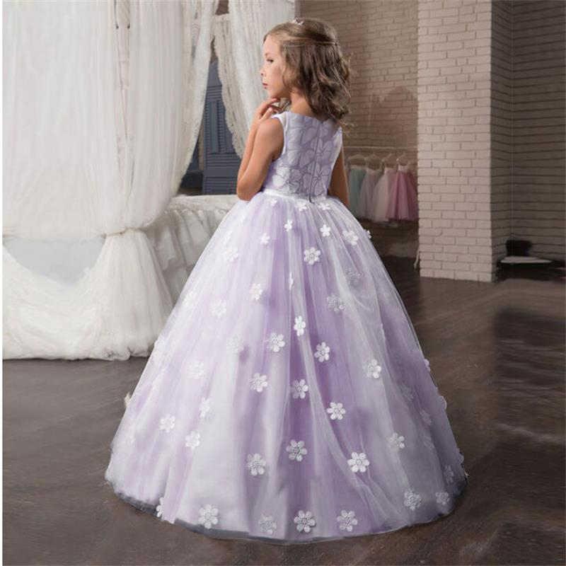 Свадебное платье с цветочным рисунком; белое торжественное длинное кружевное платье принцессы для первого причастия; длинные платья; детское вечернее торжественное платье для свадьбы