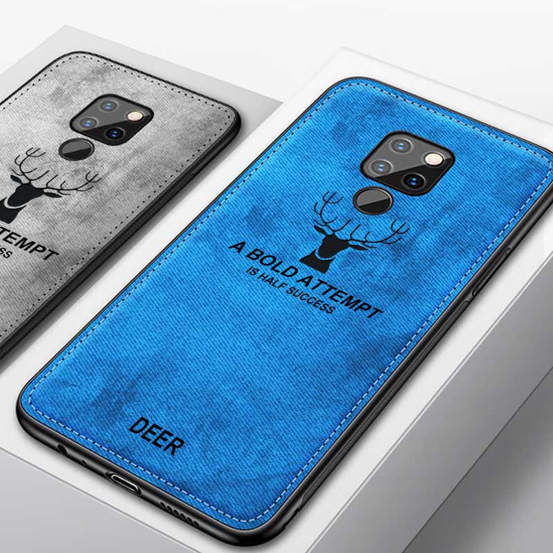 Textura de tecido Macio TPU Padrão Veado Impressão Pano Capa Para Huawei P9 P10 P20 Companheiro 9 10 20 X Pro lite Nova 2 Plus 2s 3 3i 4 Caso