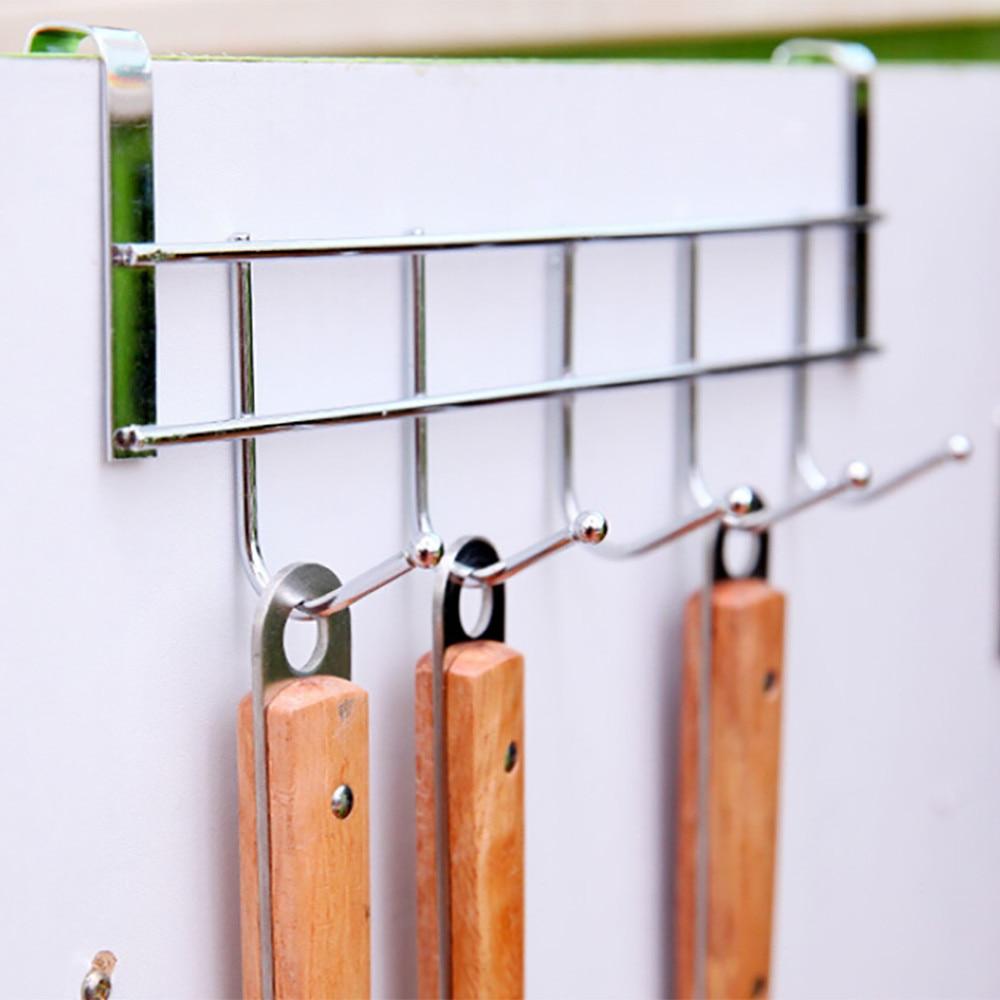 Metal Plating 5 Hooks Clothes Hooks Door Bathroom Kitchen Bedroom Towel Hanger Hanging Loop Organizer Free Shipping #25