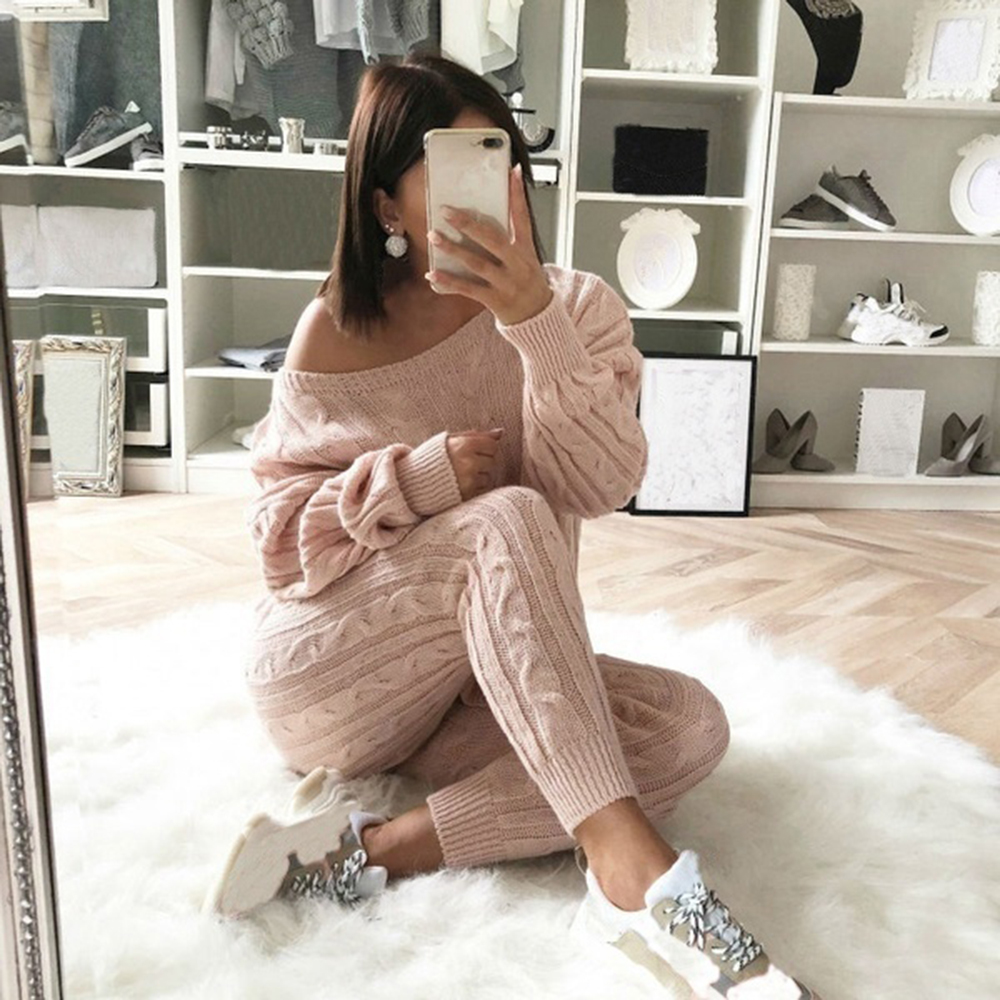 CALOFE New Autumn Cotton Tracksuit Women 2 Piece Set Sweater Top+Pants Knitted Suit O-Neck Knit Set Women Outwear 2 Piece Set