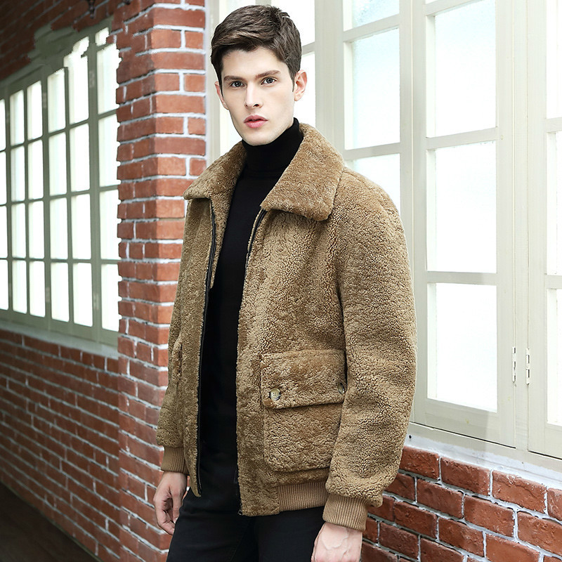 Autumn Winter Jacket Men Natural Fur Coat New Leather Jackets Real Sheep Shearling Coat Vintage Erkek Mont 340 KJ800