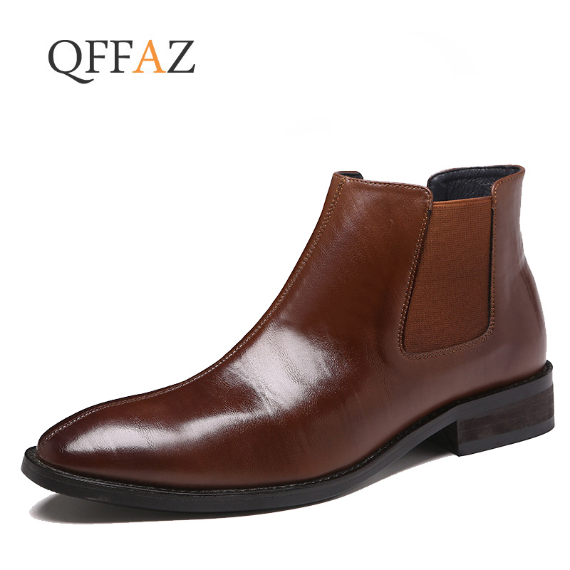 QFFAZ Top Quality Slip On Men Chelsea Boots Spring Autumn Shoes British Pointed Toe Leather Dress Wedding Ankle Boots