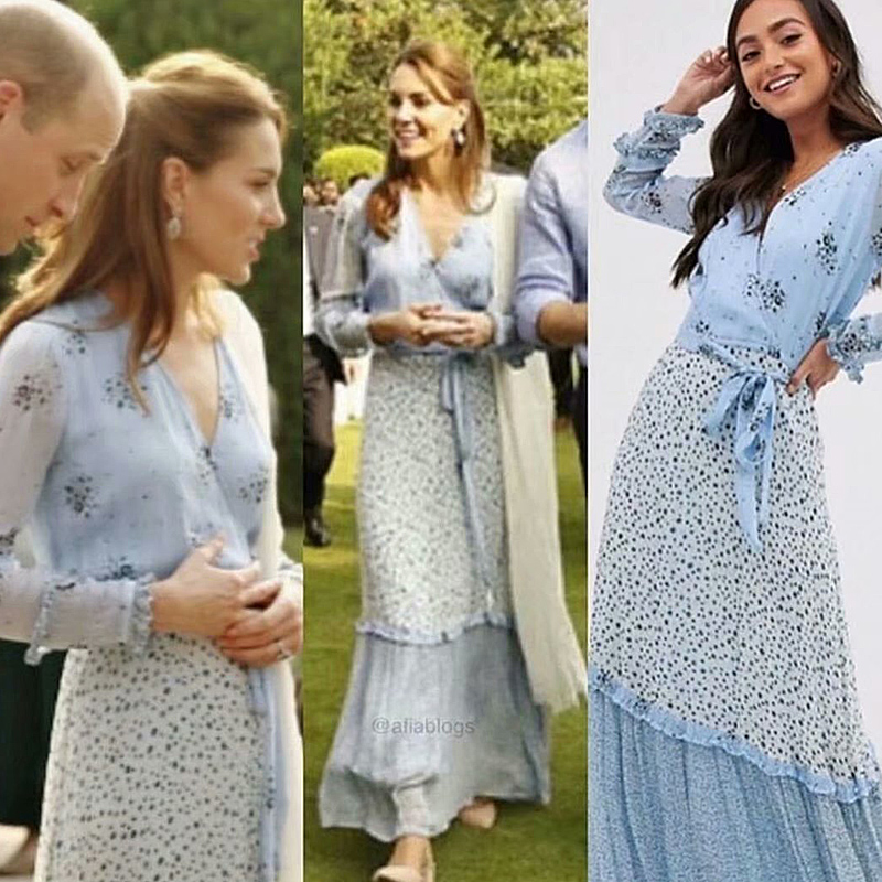 Kate Middleton Long Dress High Quality Spring New Women'S Fashion Party Casual Beach Elegant Chic Print Stitching Chiffon Dress