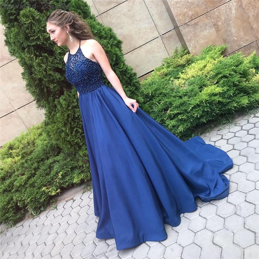 Newland Zhimei Navy Blu Lunghi Abiti da Sera Eleganti Donne Charming Una Linea Backless Senza Maniche Formale Vestiti da Partito 2020 - 2