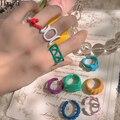 HangZhi 2020 Neue Sommer Candy Farbe Tropft Öl Malerei Geometrische Übertreibung Unregelmäßigen Hohl Offene Ringe für Frauen Schmuck