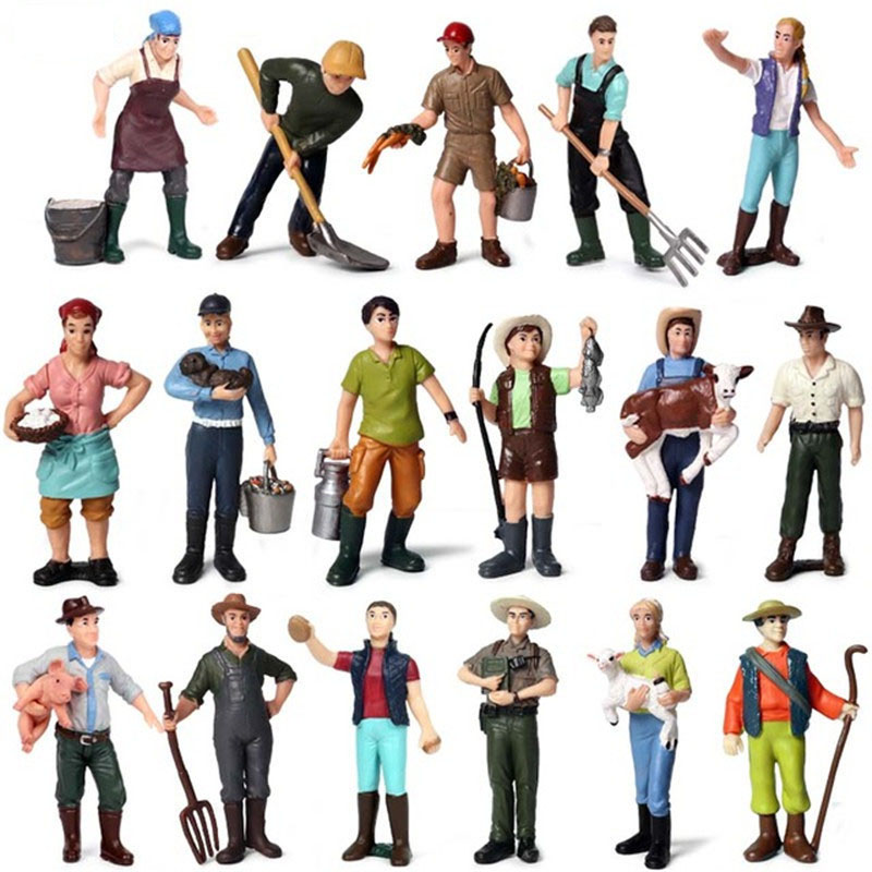Hot 1:25 Scale Farm Human Figure Worker Farmer PVC People Model Figurine Action Figure Decor Accessories Children Toys