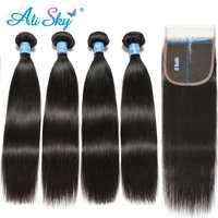 Alisky cheveux brésiliens cheveux raides 4 paquets avec fermeture 5X5 paquets de cheveux humains avec fermeture Remy Extension de cheveux couleur naturelle
