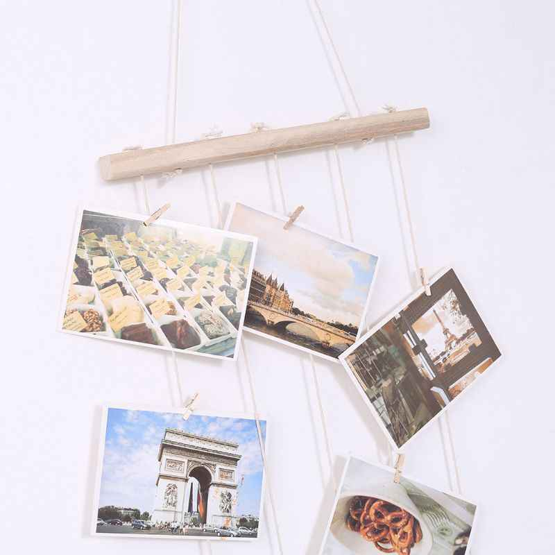 Nordic DIY Wooden Wall Hanging Picture Frame Collage Macrame Wall Decor Postcard Photo Display Home Decoration T3LE