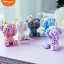 Mini Crown Bear Cake Topper Wedding Decoration Happy Birthday Toppers Wedding&Engagement Home Girl Friend Gift