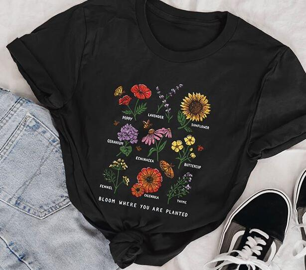 Kuakuayu HJN Summer Sunflower T Shirt Bloom Where You Are Planted Women T Shirt Van Gogh Graphic Tee Save The Bees Fashion Tops