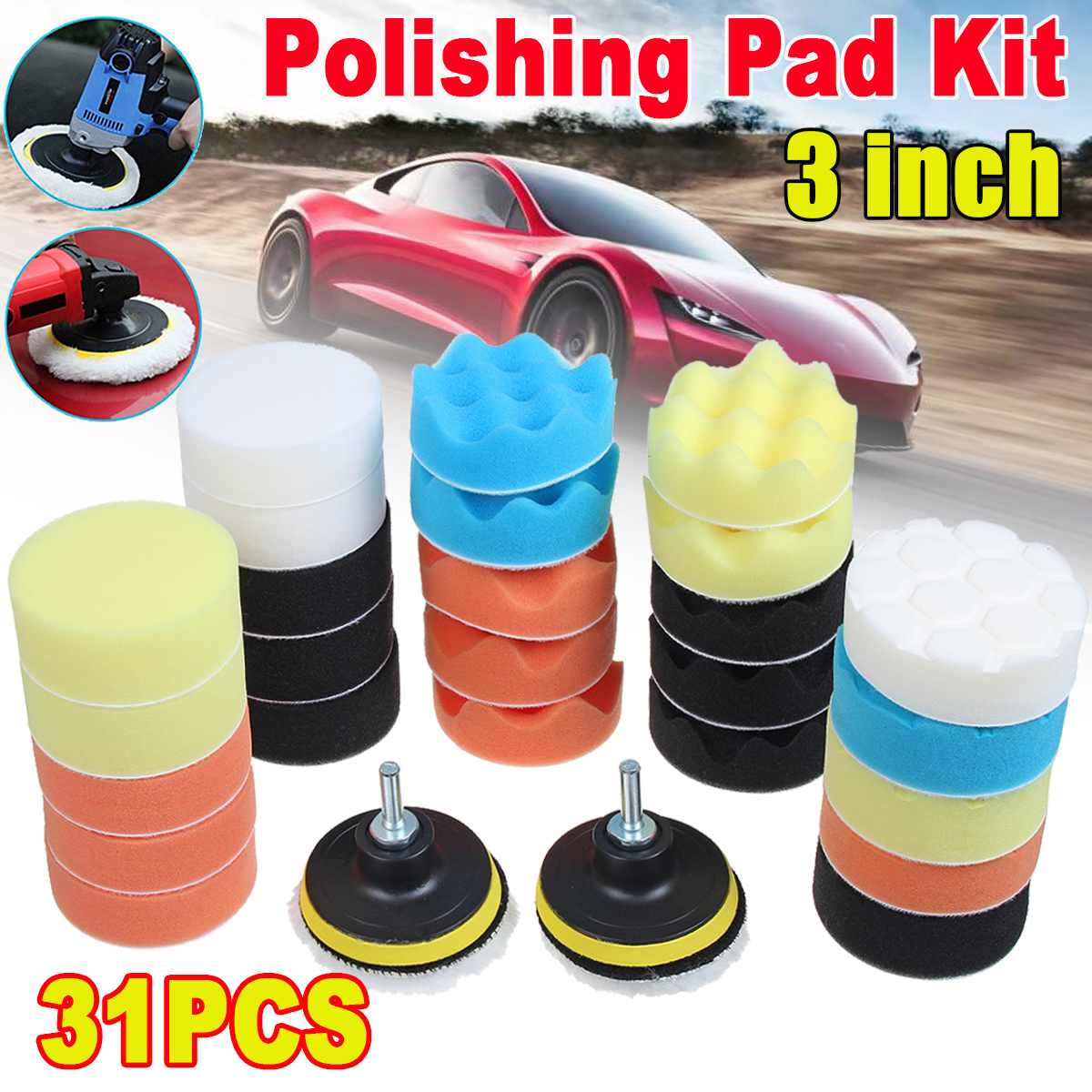 10/22/31Pcs Buffing Pad Set Thread 3 Inch 80mm Auto Car Polishing Pad Kit For Car Polisher + Drill Adaptor M10 Power Tools