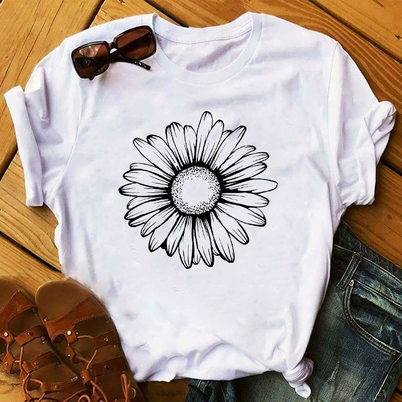 Women 2020 Spring Summer Sunflower Floral Clothing Print Lady Womens Top Ladies Graphic Female  T Shirt T-shirts Tee T-Shirt