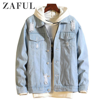 ZAFUL Casual Destroy Wash Ripped Denim Jacket Men Casual Jean Jacket Solid Color Long Sleeves Hip pop Autumn Winter Coats 2019