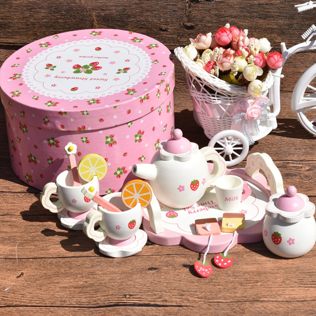 Wooden Strawberry Themed Afternoon Tea Set Food Kitchen Pretend Play Set