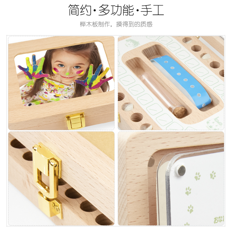 Купить с кэшбэком New baby solid wood tooth box / large - photo frame / tooth   collection box / growth commemorative deciduous box / hot sale