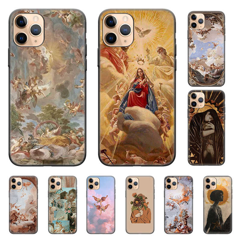 Silicone Case Cover For iPhone X XS XR X 11 11Pro Max 7 8 6 6S 5 5S 5 se Plus 7 + 8 + Ponsel Kembali Shell Renaissance Malaikat Berwarna-warni