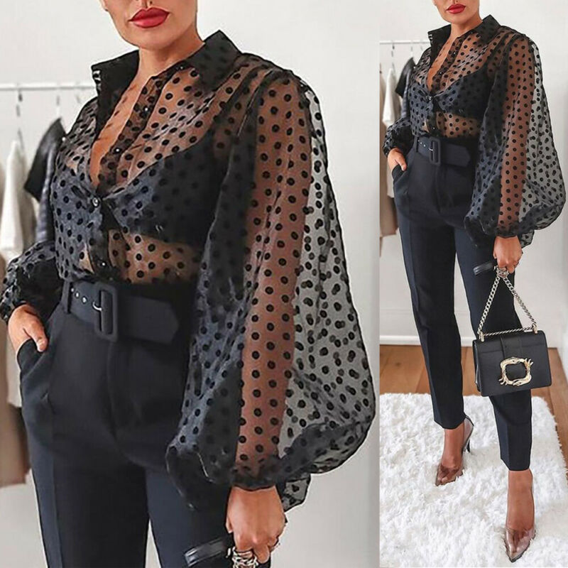 New Women Mesh Sheer Blouse See-through Lantern Long Sleeve Blouse Fashion Pearl Button Transparent White Shirt Female Blusas